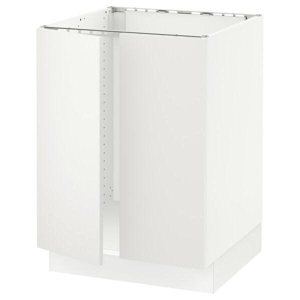 "SEKTION Armoire inférieure évier 2 ptes, blanc/Häggeby blanc, 24x24x30 """