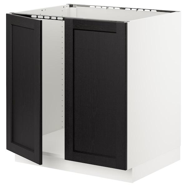 """SEKTION Armoire inférieure évier 2 ptes, blanc/Lerhyttan teinté noir, 30x24x30 """""""
