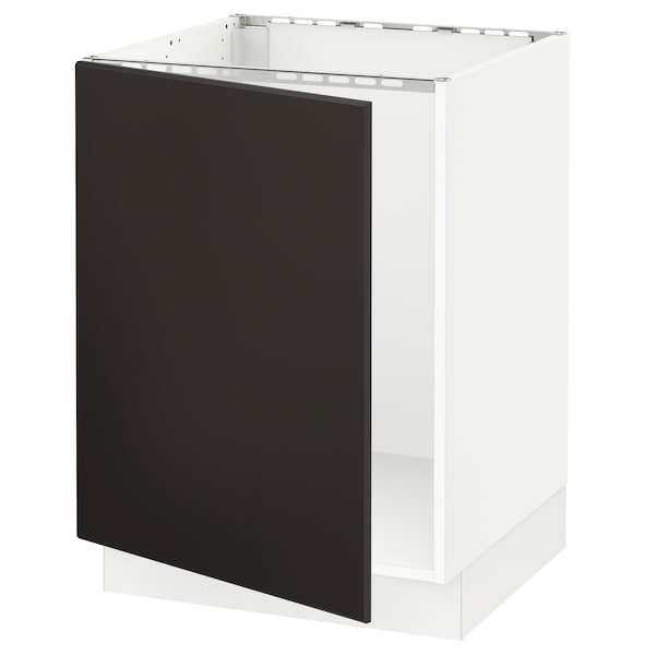 """SEKTION Armoire inférieure évier, blanc/Kungsbacka anthracite, 24x24x30 """""""