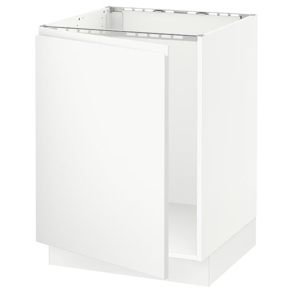 """SEKTION Armoire inférieure évier, blanc/Voxtorp blanc mat, 24x24x30 """""""