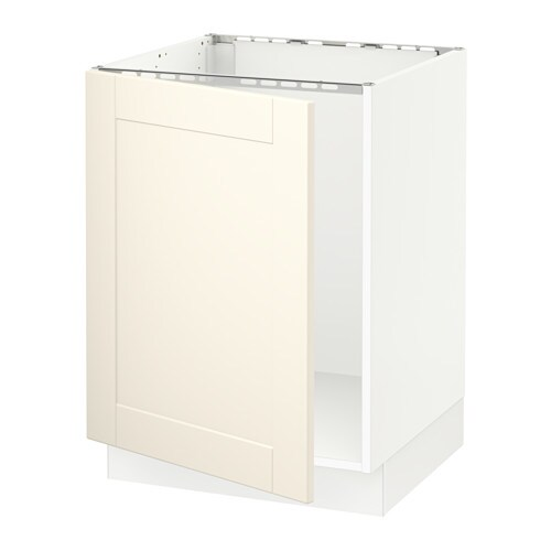 sektion armoire inf rieure pour vier blanc grimsl v blanc cass ikea. Black Bedroom Furniture Sets. Home Design Ideas