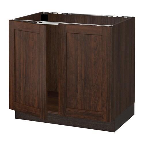 sektion armoire inf rieure pr vier 2portes effet bois brun edserum effet bois brun 36x24x30. Black Bedroom Furniture Sets. Home Design Ideas
