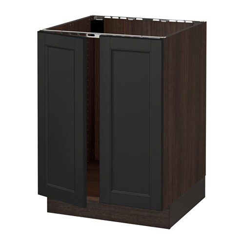 sektion armoire inf rieure pr vier 2portes effet bois brun laxarby brun noir 24x24x30 ikea. Black Bedroom Furniture Sets. Home Design Ideas