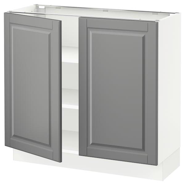 """SEKTION Armoire inférieure tablette/2portes, blanc/Bodbyn gris, 36x15x30 """""""