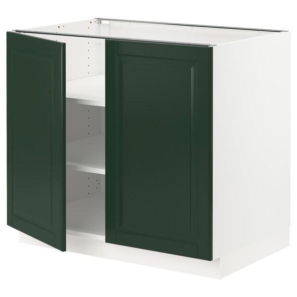 """SEKTION Armoire inférieure tablette/2portes, blanc/Bodbyn vert foncé, 36x24x30 """""""