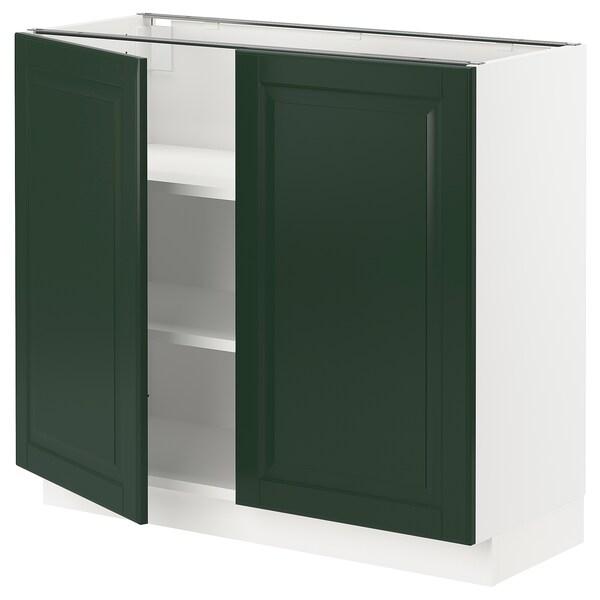 """SEKTION Armoire inférieure tablette/2portes, blanc/Bodbyn vert foncé, 36x15x30 """""""