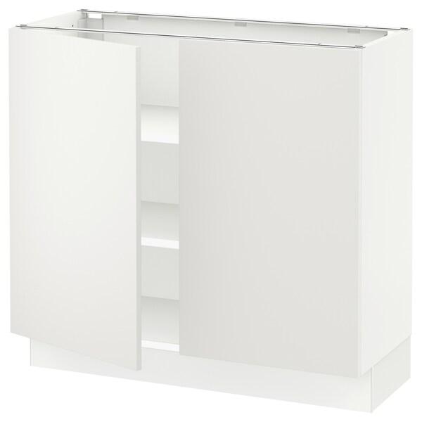 """SEKTION Armoire inférieure tablette/2portes, blanc/Häggeby blanc, 36x15x30 """""""