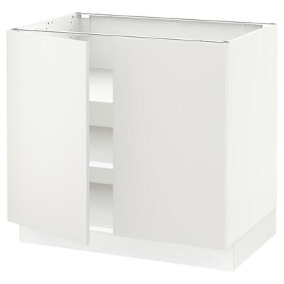 """SEKTION Armoire inférieure tablette/2portes, blanc/Häggeby blanc, 36x24x30 """""""