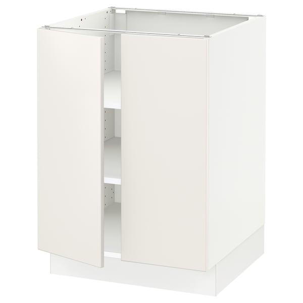 """SEKTION Armoire inférieure tablette/2portes, blanc/Veddinge blanc, 24x24x30 """""""