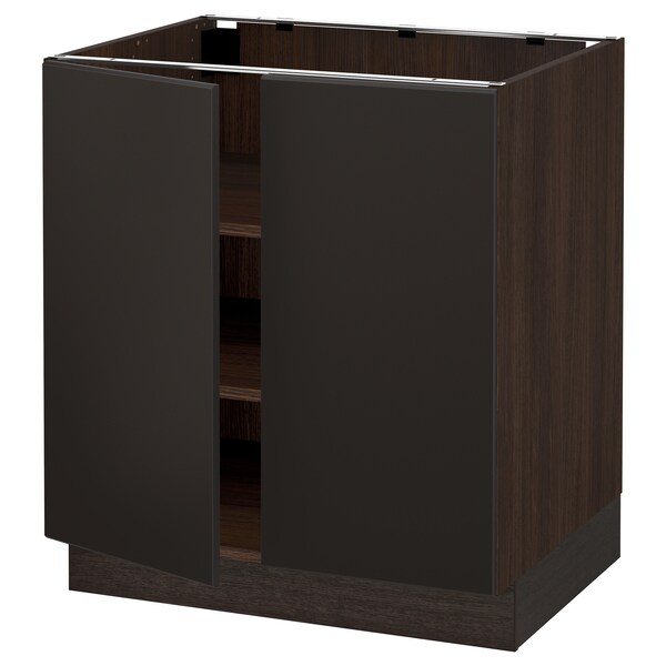 SEKTION Armoire inférieure tablette/2portes, brun/Kungsbacka anthracite, 30x24x30 ""