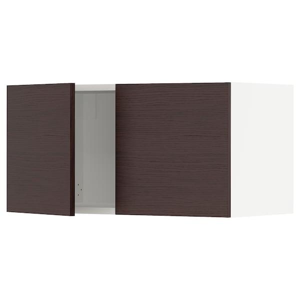 "SEKTION Armoire murale 2 portes, blanc Askersund/brun foncé effet frêne, 30x15x15 """