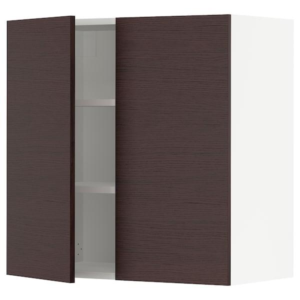 "SEKTION Armoire murale 2 portes, blanc Askersund/brun foncé effet frêne, 30x15x30 """