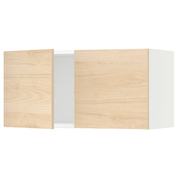 "SEKTION Armoire murale 2 portes, blanc/Askersund effet frêne clair, 30x15x15 """