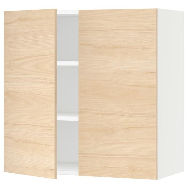 "SEKTION Armoire murale 2 portes, blanc/Askersund effet frêne clair, 30x15x30 """