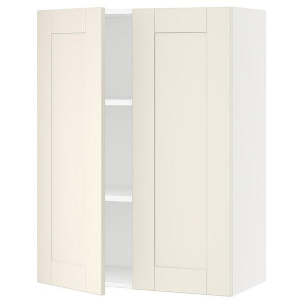 """SEKTION Armoire murale 2 portes, blanc/Grimslöv blanc cassé, 30x15x40 """""""