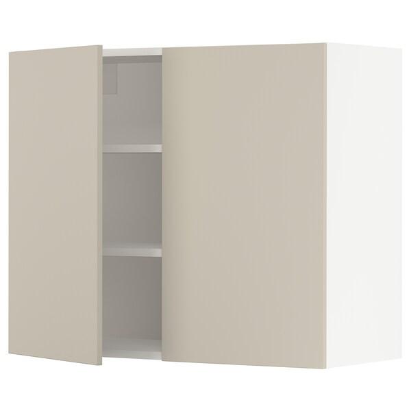 """SEKTION Armoire murale 2 portes, blanc/Havstorp beige, 36x15x30 """""""