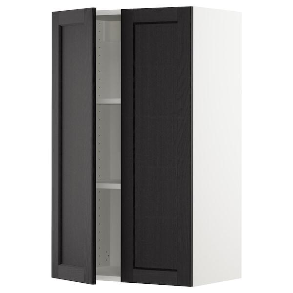 """SEKTION Armoire murale 2 portes, blanc/Lerhyttan teinté noir, 24x15x40 """""""