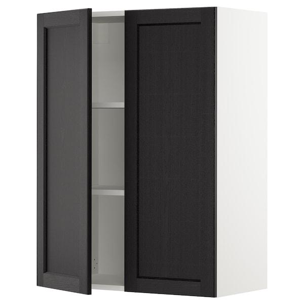 """SEKTION Armoire murale 2 portes, blanc/Lerhyttan teinté noir, 30x15x40 """""""