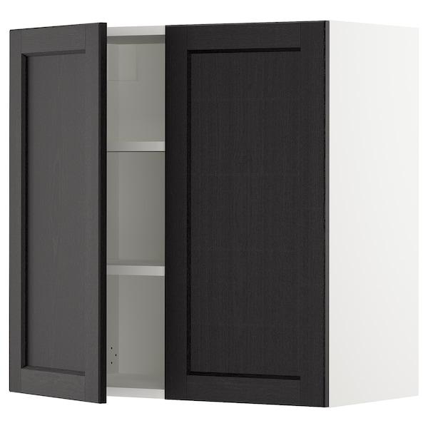 """SEKTION Armoire murale 2 portes, blanc/Lerhyttan teinté noir, 30x15x30 """""""
