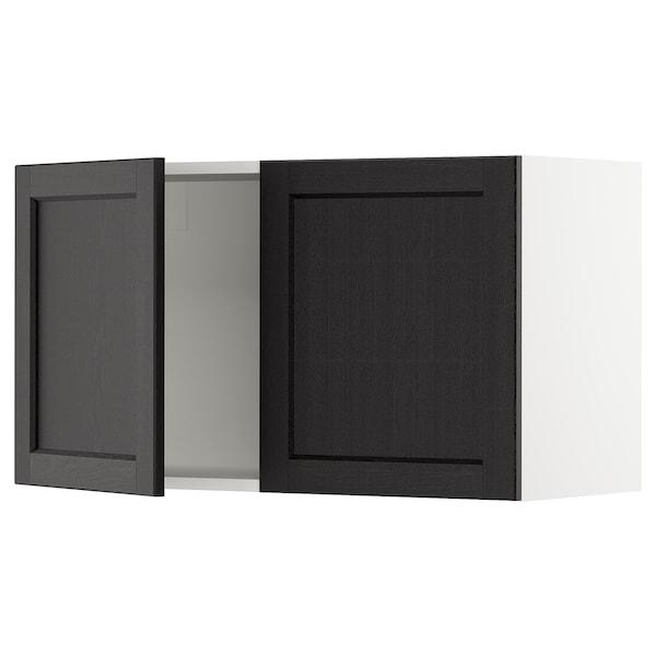 """SEKTION Armoire murale 2 portes, blanc/Lerhyttan teinté noir, 36x15x20 """""""