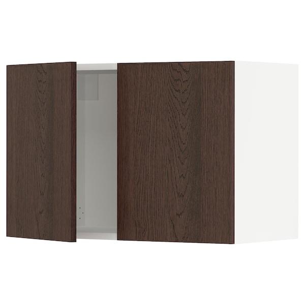 "SEKTION Armoire murale 2 portes, blanc/Sinarp brun, 30x15x20 """