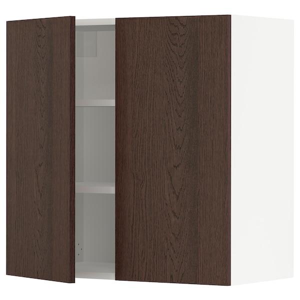 "SEKTION Armoire murale 2 portes, blanc/Sinarp brun, 30x15x30 """