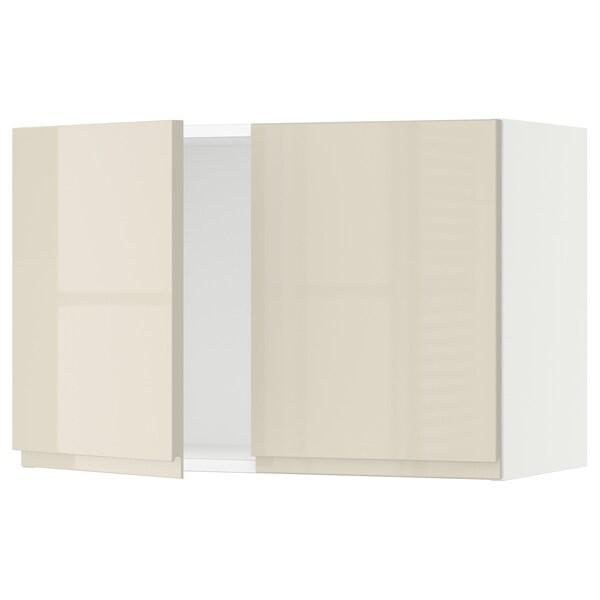 """SEKTION Armoire murale 2 portes, blanc/Voxtorp beige clair ultrabrillant, 30x15x20 """""""