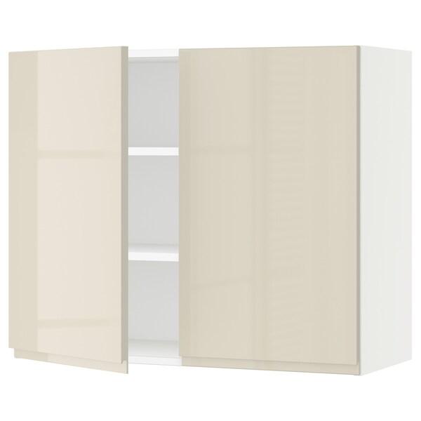 """SEKTION Armoire murale 2 portes, blanc/Voxtorp beige clair ultrabrillant, 36x15x30 """""""