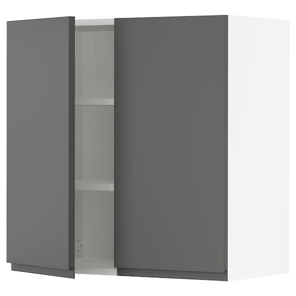 """SEKTION Armoire murale 2 portes, blanc/Voxtorp gris foncé, 30x15x30 """""""