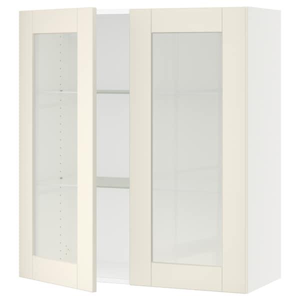 """SEKTION Armoire murale 2 portes vitrées, blanc/Grimslöv blanc cassé, 36x15x40 """""""