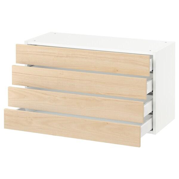 """SEKTION Armoire murale 4 tiroirs, blanc Maximera/Askersund effet frêne clair, 36x15x20 """""""