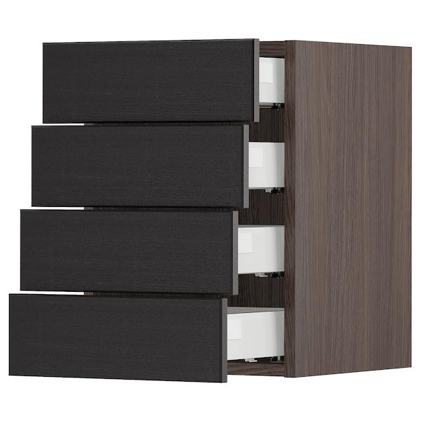 "SEKTION Armoire murale 4 tiroirs, brun Maximera/Lerhyttan teinté noir, 15x15x20 """