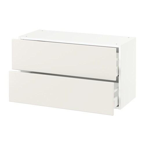 Sektion armoire murale 2 tiroirs blanc veddinge blanc for Tiroir de cuisine coulissant ikea