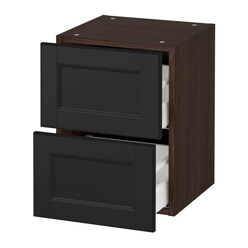 sektion armoire murale 2 tiroirs effet bois brun laxarby brun noir 15x15x20 ikea. Black Bedroom Furniture Sets. Home Design Ideas