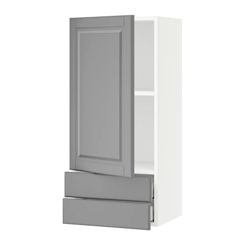 Sektion armoire murale avec porte 2tiroirs blanc bodbyn for Armoire murale cuisine