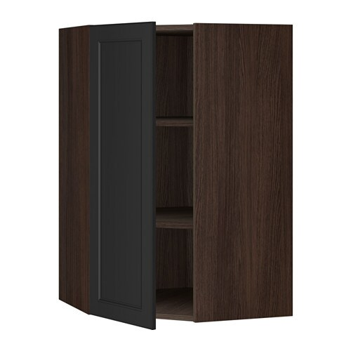sektion armoire murale d 39 angle tablettes effet bois brun laxarby brun noir 26x15x40 ikea. Black Bedroom Furniture Sets. Home Design Ideas