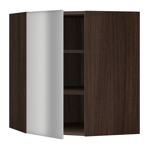 sektion armoire murale d 39 angle tablettes effet bois brun grevsta acier inox 26x15x30 ikea. Black Bedroom Furniture Sets. Home Design Ideas