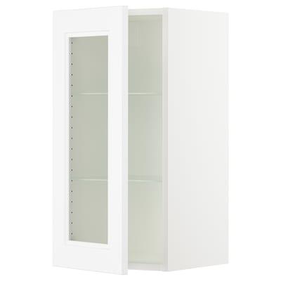 """SEKTION Armoire murale porte vitrée, blanc/Axstad blanc mat, 15x15x30 """""""
