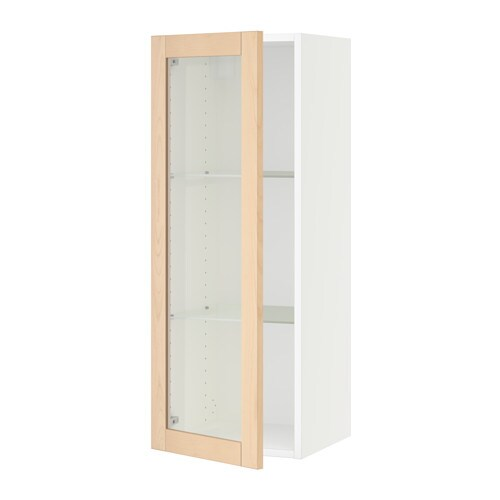 sektion armoire murale porte vitr e blanc bj rket bouleau 15x15x40 ikea. Black Bedroom Furniture Sets. Home Design Ideas