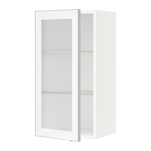 sektion armoire murale porte vitr e blanc jutis verre d poli aluminium 15x15x30 ikea. Black Bedroom Furniture Sets. Home Design Ideas