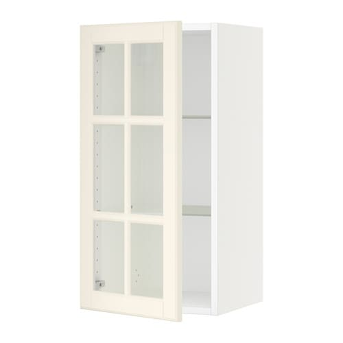 sektion armoire murale porte vitr e blanc bodbyn blanc. Black Bedroom Furniture Sets. Home Design Ideas