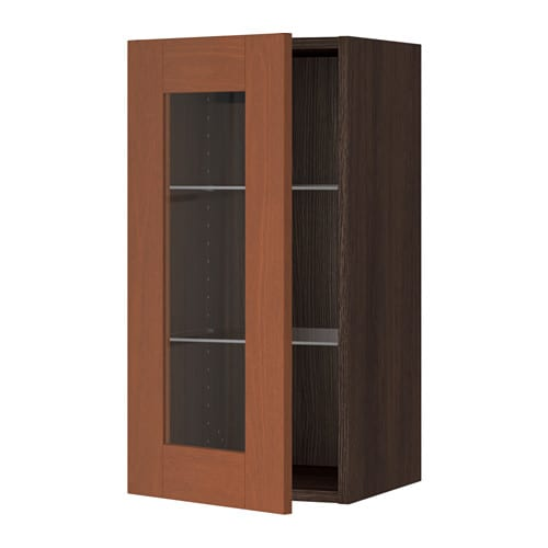sektion armoire murale porte vitr e effet bois brun 15x15x30 grimsl v brun moyen ikea. Black Bedroom Furniture Sets. Home Design Ideas