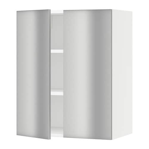 sektion armoire murale 2 portes blanc grevsta acier inox 24x15x30 ikea. Black Bedroom Furniture Sets. Home Design Ideas