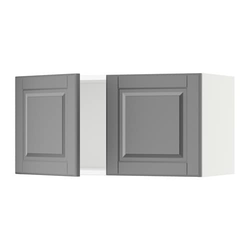 sektion armoire murale 2 portes blanc bodbyn gris. Black Bedroom Furniture Sets. Home Design Ideas