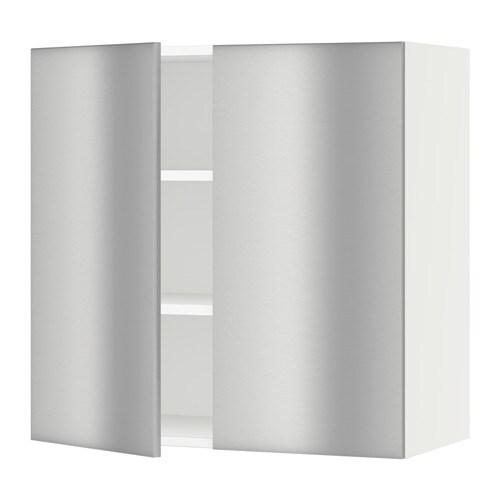 sektion armoire murale 2 portes blanc grevsta acier. Black Bedroom Furniture Sets. Home Design Ideas