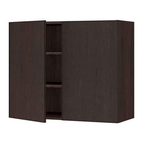 sektion armoire murale 2 portes effet bois brun ekestad. Black Bedroom Furniture Sets. Home Design Ideas
