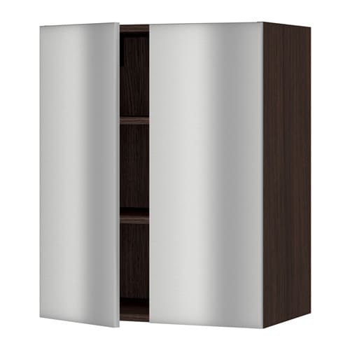 sektion armoire murale 2 portes effet bois brun grevsta acier inox 24x15x30 ikea. Black Bedroom Furniture Sets. Home Design Ideas