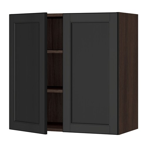 sektion armoire murale 2 portes effet bois brun laxarby brun noir 30x15x30 ikea. Black Bedroom Furniture Sets. Home Design Ideas