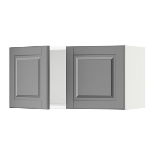 sektion armoire murale 2 portes blanc bodbyn gris. Black Bedroom Furniture Sets. Home Design Ideas