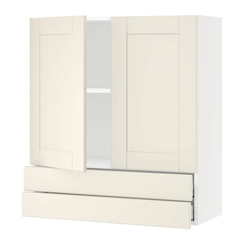 sektion armoire murale 2portes 2tiroirs blanc grimsl v blanc cass 36x15x40 ikea. Black Bedroom Furniture Sets. Home Design Ideas